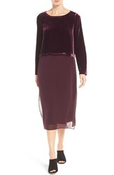 Eileen Fisher Women's Velvet And Silk Midi Length Shift Dress Raisonette