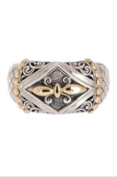 Phillip Gavriel 18K Yellow Gold And Sterling Silver Fleur De Lis Ring Multi