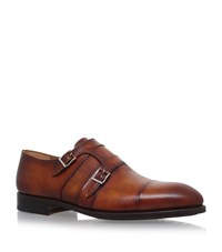 Magnanni Double Monk Strap Oxford Shoes Male Tan