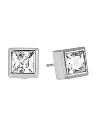 Michael Kors Square Cubic Zirconia Stud Earrings Silver Clear