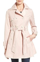 Women's Betsey Johnson Piped Double Breasted Trench Coat Rose Rain