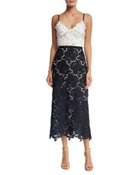 Catherine Deane Sleeveless Two Tone Lace Midi Dress Ivory Navy Ivory Navy