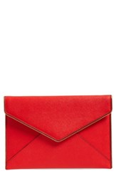 Rebecca Minkoff 'Leo' Envelope Clutch Red Poppy Red Light Gold Hrdwr