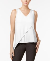 Cable And Gauge Mixed Media Asymmetrical Top White