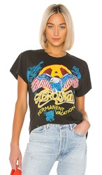 Madeworn Aerosmith Permanent Vacation Tee In Black. Dirty Black