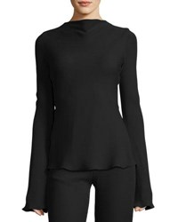 Brandon Maxwell Waterfall Back Crepe Blouse Black