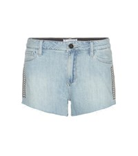 Paige Keira Embroidered Denim Shorts Blue