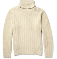Gant Ribbed Knit Rollneck Sweater White