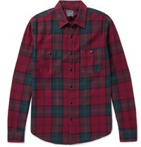 J.Crew Plaid Cotton Flannel Shirt Claret