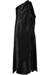 Maison Martin Margiela Mm6 One Shoulder Satin Maxi Dress Black