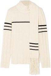 J.W.Anderson Jw Anderson Tasseled Draped Wool And Cashmere Blend Sweater White