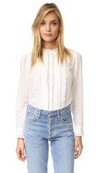 La Vie Rebecca Taylor Winter Gauze Lace Blouse Chalk