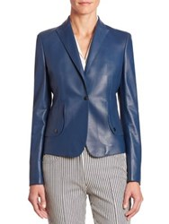 Akris Punto Perforated Leather Jacket Blue Denim