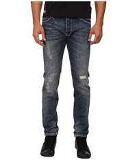 Armani Jeans Slim Fit J28 Blue Wash Denim W Rip Repair Detail
