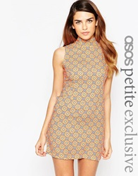 Asos Petite Shift Dress With High Neck In 70S Floral Print