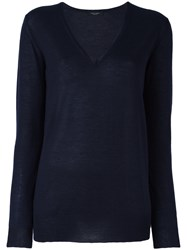Roberto Collina V Neck Sweater Blue
