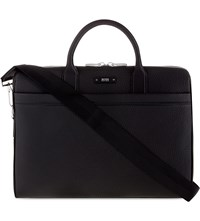 Hugo Boss Traveller Leather Briefcase Black