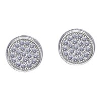 Carat London Pave Round Stud Earrings Silver