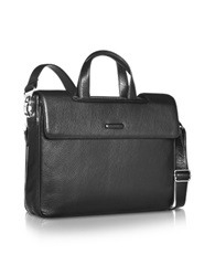 Piquadro Modus Expandable Black Calfskin Two Handle Briefcase