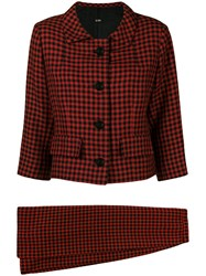 Balenciaga Vintage 1960 Houndstooth Skirt Suit Red