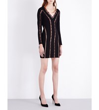French Connection Rose Lace Jersey Dress Black