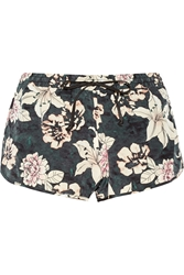 Elizabeth And James Hammond Printed Silk Shorts Black