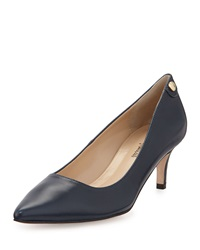 Neiman Marcus Stroll Pointed Toe Leather Pump Navy
