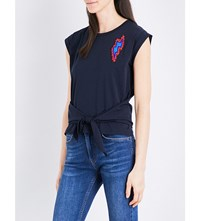 Sandro Fahdy Bead Embellished Cotton T Shirt Navy Blue