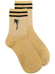 Msgm Palm Tree Print Socks Gold