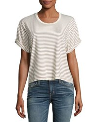 Current Elliott The Sailor Tee Ecru Sonic Stripe Neutral Pattern