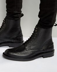 Dead Vintage Brogue Boots Black Leather Black