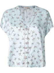 Morgan Lane Joanie Printed Pyjama Top Blue