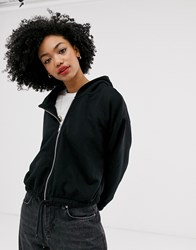 Weekday Cropped Hoodie With Zip Detail In Black