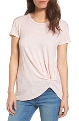 Stateside Women's Knot Detail Slub Knit Tee Peach