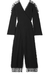 Caravana Xaman Ek Fringed Distressed Wrap Effect Cotton Gauze Maxi Dress Black