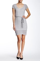 Lavand Short Sleeve Cable Knit Dress Gray