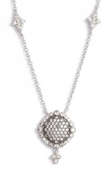 Freida Rothman Women's Disc Pendant Necklace Rhodium Black Rhodium