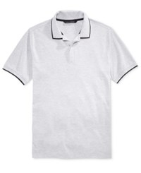 Sean John Men's Jacquard Tipped Polo Heather Grey