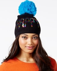 Betsey Johnson Xox Trolls Happy Multi Sequin Beanie Only At Macy's Black