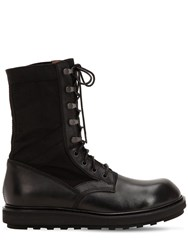 Isabel Benenato Leather And Canvas Tall Boots Black