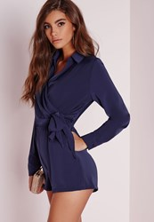 Missguided Wrap Front Shirt Playsuit Navy Blue