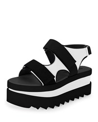 Two Tone Platform Sandal Black White Stella Mccartney
