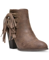 Fergalicious Clover Fringe Ankle Booties Women's Shoes Cognac