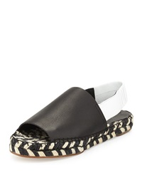 Proenza Schouler Two Tone Leather Braided Espadrille Slingback Black White