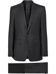 Burberry English Fit Pinstriped Wool Suit Grey