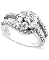 Macy's 14K White Gold Ring Diamond Cluster 2 Ct. T.W.
