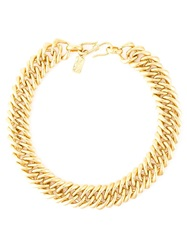 Yves Saint Laurent Vintage Chunky Choker Chain Necklace Metallic