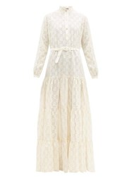 Gucci Gg Broderie Anglaise Cotton Blend Maxi Dress White Gold