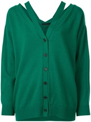 Aula Cut Out Buttoned Cardigan Acrylic Wool Green