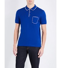 Salvatore Ferragamo Cotton Pique Polo Shirt Royal Blue